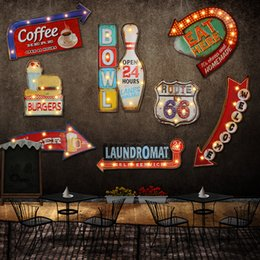 Wholesale Decor Metal Sign - Signboard Hamburgers Signed Wall Hangings Bar Sign Fashion Decor Decorated Signs Home Decor Hanging Neon Lights