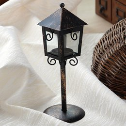 Wholesale Jewelry Accessory Stands - European Style Wrought Iron Pavilion Candlesticks Restaurant Lantern Small Street Creative Jewelry Glass Creative Home Accessories