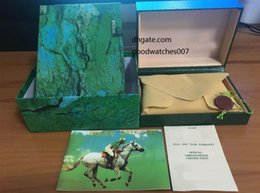 Wholesale Fold File - High Quality Perpetual Brand Watch Box Papers File Card Green Gift Boxes Use President 116610 116660 116520 116710 116613 Watches