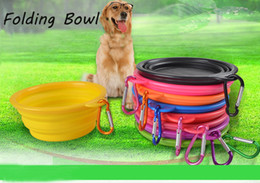 Wholesale Plastic Travel Folding Cup - Collapsible Dog Bowl Food Grade Silicone Portable Pet Dog Cat Puppy Feeding Bowl with Carabiner Folding Dog Water Dish Feeder Travel