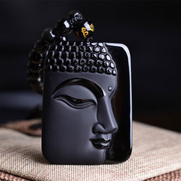 Wholesale Crystal Buddha Head - Wholesale- Free shipping 100% Natural Obsidian Stone top fashion crystal pendant Buddha Buddha Head necklace Pendant gift for men and women
