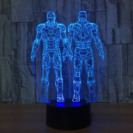 Wholesale Aa Side - 3D Double Side Iron Man Lamp Night Lamp 7 RGB Colorful Lights USB Powered with AA Battery Bin Touch Button Wholesale Dropshipping