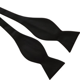 Wholesale Bow Tying - Black Italian Satin Plain Paisley Ascot Bow Tie Wedding Bowties Self Tie Bow Ties Many Color