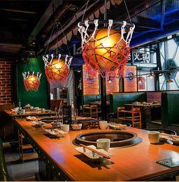 Criativo de basquete personalidade da lâmpada restaurante bar lojas estádio esportes tema Art Deco pingente lâmpada de Basquete quarto de criança Luz pingente cheap led stadium lamp de Fornecedores de lâmpada de estádio led