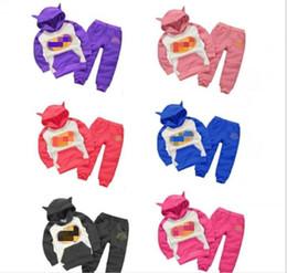 Wholesale Animal Hoodies Ears - HOT INS Suits Children Tracksuit Kids Sweatshirt Set 2PCS Hooded Ear Cartoon Hoodie and Coat+Pants JC35