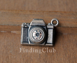 Wholesale Metal Charms Pendants Silver Camera - 30pcs Antique Bronze Silver Alloy camera Charm Pendant DIY Metal Bracelet Necklace Jewelry Findings A234 A240