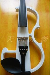 Wholesale Rosin Violin Free Shipping - Wholesale-handmade full size white electric violin ,send hard case + bow + rosin free shipping for beginner
