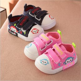 Wholesale Cheap Toddler Canvas Shoes - China wholesaler cheap 2017 autumn cartoon monkey casual canvas shoes toddler baby boy girl flat platforms pink blue US 0.5-5.5