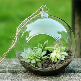 Wholesale Glass Bottle Garden - New Clear Round Hanging Glass Vase Bottle Terrarium Hydroponic Container Pot Flower DIY Home Table Wedding Garden Decor