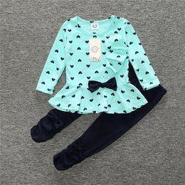 Wholesale Zebra Print Blouse - Heart Print Girls Clothes Sets BowtieChildren Jumpers Leggings Suit Baby Girl Outfits Kid Clothing Fashion Cotton T-Shirt Pant Blouses