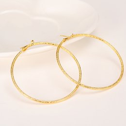 Wholesale Solid Yellow Filled Hoop - Big Round Hip-Hop Earrings New Trendy 9K Yellow Solid Fine Gold Filled Fashion Jewelry 60mm Diameter Large Earrings Women