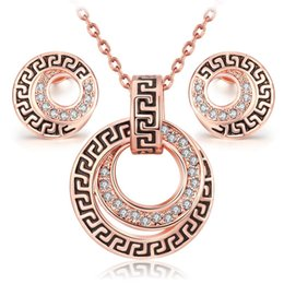 Wholesale Rose Gold Costume Jewelry Sets - parure costume jewelry sets bijoux ensemble vintage Rose Gold plated fashion classic crystal necklace earring set for women girl