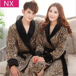 Wholesale Men Leopard Sleepwear - Wholesale- Autumn Winter Long Robe Women men Robes Couples Sleepwear Thickening Coral Fleece Flannel Bathrobes Sexy Leopard Print Nightgown