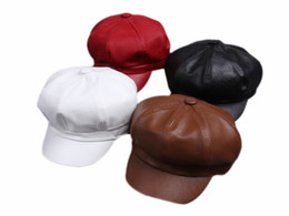 Wholesale french artist hat - Wholesale-Fashion Women Artist Beret Cap French Style Vintage Solid Colors Leather Beret Hat Ladies Classic Berets