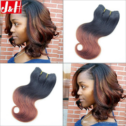 Wholesale 33 Body Wave - 6Pcs lot 300g Full Head 8A Brazilian Ombre Hair Extensions Body Wave 1B 33 Remy Hair Weaves 2016 Trendy Bob Short Hairstyle for Black Women