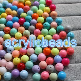 Wholesale Loose Beads For Jewelry Making - 50PCS Factory 14MM Opaque Plastic Round ball Acrylic Loose Solid Spacer Gumball Bubblegum Beads for Jewelry Making