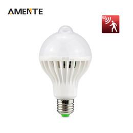 Wholesale Pir E27 - Wholesale- 1Pcs 5w 7w 9w PIR Motion Sensor Lamp E27 LED Bulb Auto Smart The Motion Sensor Lights LED Infrared Body Lamp For Night Lighting