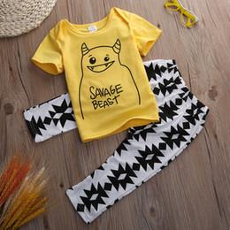 Wholesale Yellow Minion Kids T Shirts - Kid Boys Girls Clothes 2pcs Sets Minions Cartoon 2pcs Children Toddler Infant Yellow T-shirt Tops + Pants Clothing Set Baby