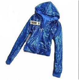 Wholesale Stage Wear Jackets - Fashion newest long sleeve sequin Zipper Stage wear for women adult's performance ballroom Hip-hop Wear Jazz Top short jacket
