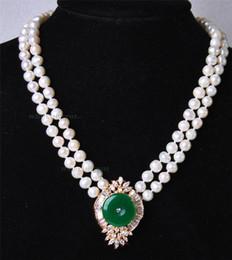 Weiße perle grüne jade halskette online-Schöne 2Rows White Pearl Green Jade Anhänger Halskette