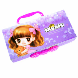 Wholesale Kawaii Lock - Wholesale-Purple cute pencil case with lock handle password girl Paper 3 layer cartoon school pencil box pouch bag kawaii material escolar