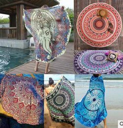 Wholesale Child Round Skirt - Round Bohemian seaside Dress skirt beach towel 150cm Chiffon Shawls warp Picnic Camping table Pad yoga mat Blanket Cover-Ups