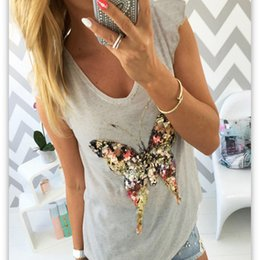 Wholesale Gray Burst - Europe And The United States Burst Section Fashion Butterfly Shining Beads V Collar Leisure T Shirt Female