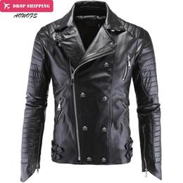 Оптовая продажа-Модные мужские зимние кожаные куртки искусственная куртка корейский стильный Slim Fit пальто мужчины Мото череп замша Куртка для мужчин, m-5xl ,P1 от