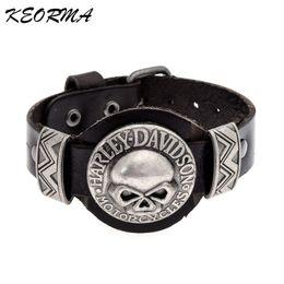 Wholesale Materials For Bracelets - Wholesale- Trendy Design Skull Shaped Bracelet Handmade Leather Material Bangle Bracelet Jewelry for Couple Men Gift