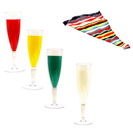 Wholesale Champagne Prop - 1set Glass Color Change Chameleon Champagne Gift Silk Acrylic Cup Magic Tricks professional magician bar illusion props 82119