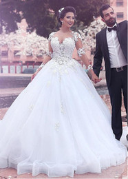 Wholesale Drop Waist Wedding Dress Mermaid - Sheer Neck Long Sleeve Lace Ball Gown Wedding Dresses Bridal Gown With Ribbon Hem Dropped Waist Tulle Wedding Gowns For Sale