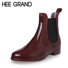 Wholesale black hee - Wholesale- HEE GRAND Fashion Rain Boots Pointed Toe Women Rubber Boots Slip On Ankle Boots Casual Platform Rainboots Shoes Woman XWX2330