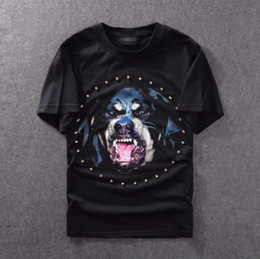 Wholesale Dog Shirt Woman - 2017 high quality new Rottweiler dog print with diamonds famous luxury brand tee t shirts for men women cotton