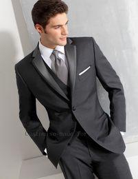 Wholesale Mens Grey Tuxedo Pants - Wholesale- Mens Wedding Suits 2016 Grey Notch LapelProm Groom Tuxedoes Jacket+Pants+Vest+Tie Custom Made Wedding Party Prom Groomsmen Suits