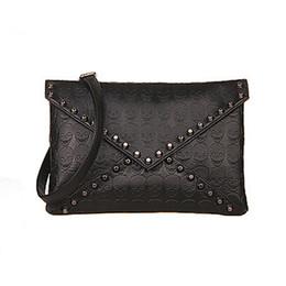 Wholesale Skull Design Bags - Wholesale- 2015 New Fashion Women Handbag Skull Rivets Envelope Design PU Leather Crossbody Handbag Tote Bags Purse Wholesale Freeshipping