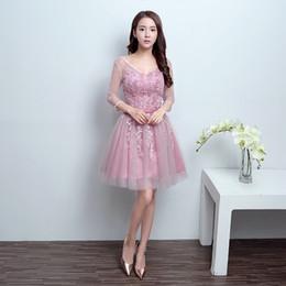 Wholesale One Shoulder Dress Transparent - 2017 New Fashion Short Pink Lace Flower Short Evening Dress The Bride Slim Sexy Transparent A-line Party Gown Formal Dresses F