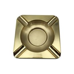 Wholesale Cohiba Cigar Ashtrays - COHIBA Gold Square 4 Cigar Titanium Metal Ashtray New Portable Fashion Eco-Friendly Pocket Shatterproof Cigar Square Ashtray