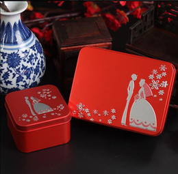 Wholesale Bride Wedding Tin Box - Free shipping tins hot silver bride and groom favor tins for bride shower , 50pcs lot