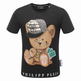 Wholesale M Cartoons - Cartoon Bear T shirt New Hip Hop Summer Style High Quality t shirt Man Printed Cotton Tshirt Tee