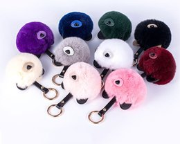 Wholesale Ball Bearing Keychain - Fancy&Fantasy Hot 16cm Fashion Fluffy Fur Ball Bear Ears Toy Keychain Women Cute Pom Pom Key Ring Trinket Bag Charms Key Holder