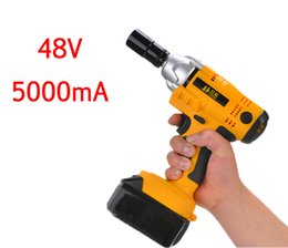 Wholesale Electricity Industry - 48V 5000mA electric impact wrench lithium foot shelf industry woodworking electric wrench pneumatic 20170107# 20170110