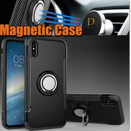 Wholesale Galaxy Ring Cases - For iPhone X ten 10 8 Ring Kickstand Armor Case Shockproof Samsung Galaxy S8 s7 edge Hybrid cover Magnetic Car Holder
