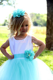 Wholesale Toddlers Wedding Shirts - 2017 Blue Wedding Flower Girls Little Girls Pageant Dresses Tulle Neck Beaded Crystals Corset Back Flower Girls Birthday Princess Dresses