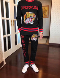 Wholesale Cheap Brand Tracksuits - Embroidery tiger Winter And Autumn fall cheap Men Sportswear Brand Tracksuits Mens Casual Sports Suit Hooded Sports Free Shipping