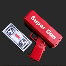 versteckte wifi kameras für zu hause Rabatt Geld Kanone Super Geld Gun Mode Spielzeug Machen Sie Regen Geld Gun Red Weihnachtsgeschenk Spielzeug Pistole Kinder Mit 100 STÜCKE Geld