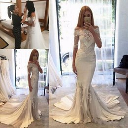 Wholesale Couture Long Sleeve Wedding Gowns - Steven Khalil 2017 Berta pallas couture Spring Collection Off-shoulder Mermaid Wedding Dresses with Long Sleeves Arabic Cheap Wedding Gowns
