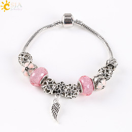 Wholesale Antique Snake Bracelet - CSJA Angel Wing Pan Bracelet Hollow Antique Silver Plated Love Heart Jewelry Pink Purple Grey Flower Glass Beads Bangle E139