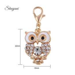 Wholesale Jewelry Findings For Bracelets - Crystal Owl Floating Locket Charm with Lobster Clasp Metal Alloy Charm Pendant for DIY Bracelet Jewelry Finding Gold Plated