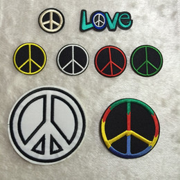 Wholesale Iron Fabric Embroidery - Fabric Artificial Peace Sign Patches Embroidery Clothes Love Peace Patch,Sew On,Iron On Patch,Symbol For Biker,Jacket