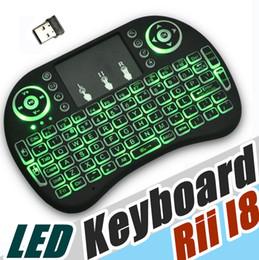 2019 air touch tastatur usb Rii I8 Fliegen Air Mouse 2.4G Bunte Hintergrundbeleuchtung Drahtlose Berührungsflächen-tastatur Multifunktions Für PC Pad Android TV Box MXQ V88 X96 A-FS